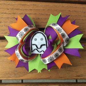 NEW Halloween Ghost Stacked Boutique Hair Bow